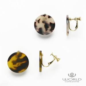 【worcolle】ラウンド型べっ甲風の樹脂イヤリング(No.132709-10)