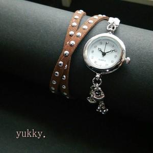 <受注制作>ブレス腕時計・スエード2連巻き・シルバー