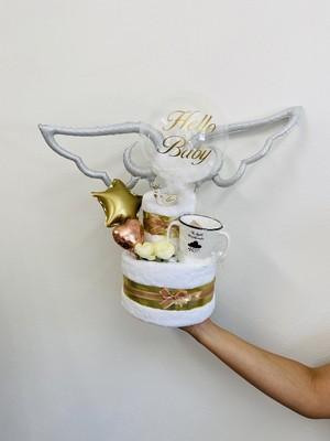 天使の羽×フェザーアクアバルーンおむつケーキ