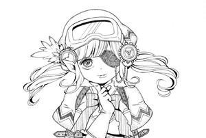 隻眼で微笑む少女と重厚な鎧の少女