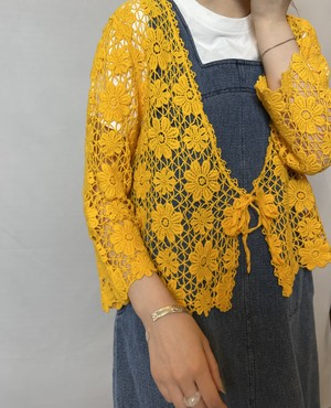 flowered pattern embroidery cardigan