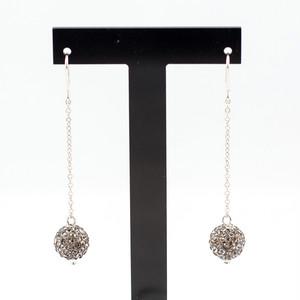 ラインストーンパヴェチェーンピアス1玉 pve-chainblackdiamond1 ブラックダイヤモンド パヴェ キラキラ