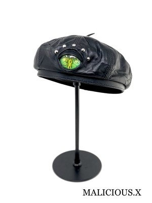 reptiles(A) eye  panel real leather beret / green