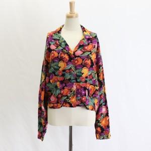 Vintage  80's USA【CAROLE LITTLE】Flawer Print Shirt Jacket アメリカ ヴィンテージ 80年代 フラワープリント 長袖シャツ 開襟 ショート丈 ジャケット