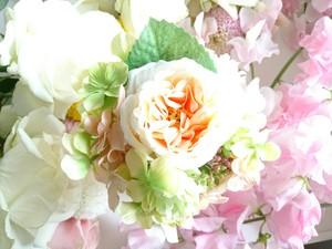 Vanir.フラワーキャンドルポット(オレンジ花×緑・オレンジ小花/Fragrancia-singleサイズ用)
