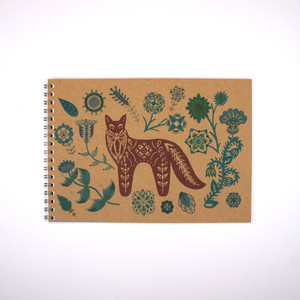 Folk Animals A5 Notebook * Fox & Teal Flowers