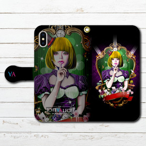 #044-027 iPhoneケース スマホケース 手帳型 全機種対応 人気 女子 iPhoneXS/X Xperia iPhone5/6/6s/7/8 ケース おしゃれ 不思議の国のアリス Galaxy ARROWS AQUOS HUAWEI Zenfone タイトル:Dark Alice 作:kis