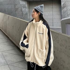【アウター】ファッションファスナースタンドネック配色コート24177260