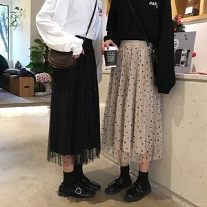 【ボトムス】カジュアル春夏ギャザー飾りすね丈ハイウエストスカート