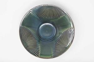 【受注生産対応】沖縄の深海色緑釉 8寸パスタ皿 クバ紋様3柄