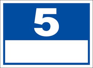 シンプル看板「番号票5(白窓付)」屋外可・送料無料