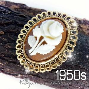 白い薔薇 ルーサイトカメオ ヴィンテージ スカーフクリップ 1950s ドレスクリップ 帯留めにも イングリッシュローズ