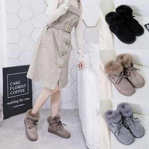 可愛い 暖かい ふわモコファー ムートンブーツ ショートブーツ / Women's cute short tube thick woolen shoes plus velvet short snow boots (DCT-562259841337)