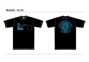 JONNNY'S CLUB Tシャツ BLACK 生地 / BLUEプリント [BKBL]