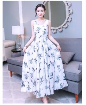 ノースリーブ ロングワンピース マキシ丈ワンピース ドレス 大花柄ドレス エレガント プチプラ 大人ドレス