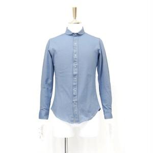 メンズシャツ シャツ 長袖 無地 水色シャツ 長袖シャツ シャツ メンズ 鹿の子 シャツ かのこシャツ 水色 青 長袖 サイズ S 38cm M 40cm