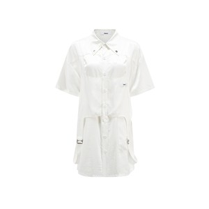 【24 ans 】サテン地ドッキングシャツ