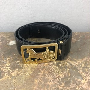 .CELINE CARRIAGE LOGO LEATHER BELT 70 MADE IN FRANCE/セリーヌ馬車ロゴレザーベルト 2000000041544