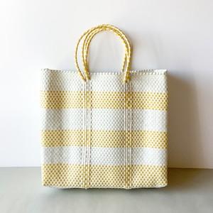 Letra - メルカドバッグ Border2 - White × Yellow (M)