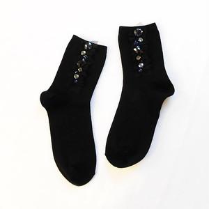 【Yuu-ri】チュールとビジューの靴下(ブラック)