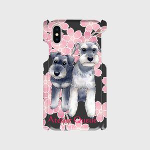 シュナウザーカップル桜スマホハードカバーiPhoneX