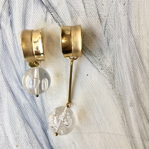 One of a kind earring - Clear bubbles No.701