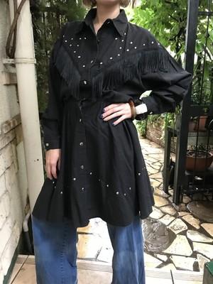 80s black fringe & studs dress ( ヴィンテージ  ブラック フリンジ × スタッズ ワンピース )