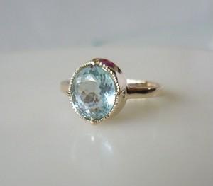 アイスブルーアクアマリンのK10の指輪