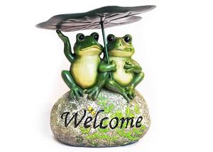 カエルオブジェ 蓮子と2匹の蛙 かえるウェルカムストーン