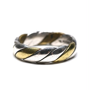 Vintage Mexican Silver & Brass Twisted Ring