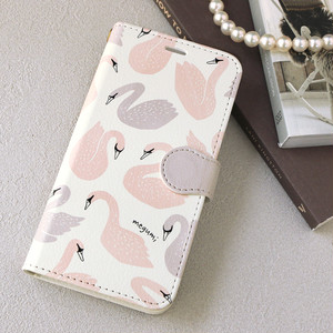 【名入れ可能】 iPhone 手帳型スマホケース【Swan】 iPhone8plus/7plus/6plus/6splus/XR/XS Max/11/11 Pro/11 Pro Max