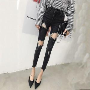 【ボトムス】ファッションハイウエストダメージ加工デニムパンツ28649420