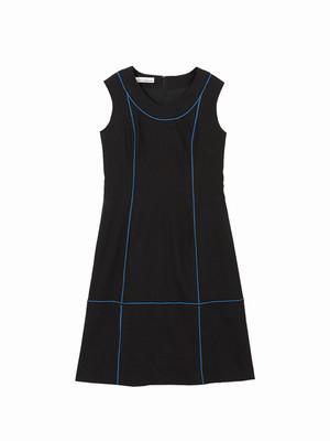 Colour line switched dress  / black × blue / S16DR01