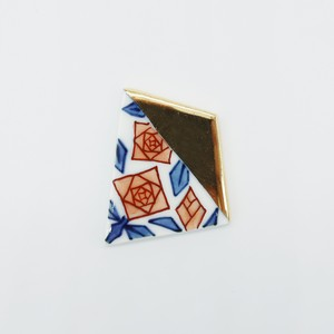 【eb2】染錦 薔薇 ブローチ/帯留