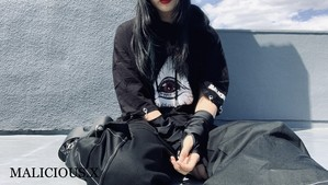 eye ring hoodie T-shirt / black