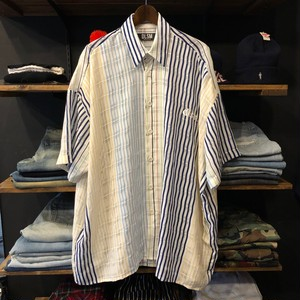 【DLSM】 -ディーエルエスエム-NY LOGO SEE THROUGH MIX STRIPE S/S SHIRT