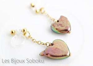 ノンホールピアス・ハート型の淡水真珠(ピアスのようなイヤリング)