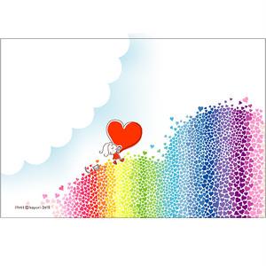 ポストカード 004 虹のハート