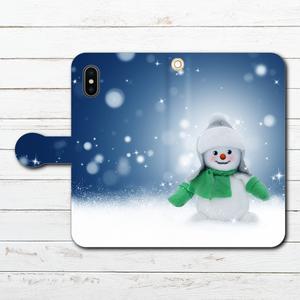 #000-040 手帳型iPhoneケース 手帳型スマホケース 全機種対応 iPhoneXS/X かわいい 雪だるま Xperia iPhone5/6/6s/7/8 セール 冬 Galaxy ARROWS AQUOS HUAWEI Zenfone タイトル:雪だるま