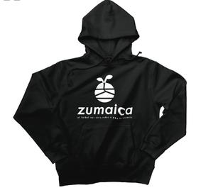 zumaica Wフードプルパーカー Black【White ロゴ】
