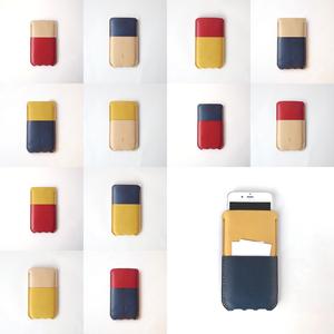 革のスマホケース【spot/すぽっと】#ヌメ革・草木染め革 選べる組み合わせ12通り #iPhoneX・iPhone8・iPhone8Plus対応 #手縫い #手染め #選べるアルファベット刻印