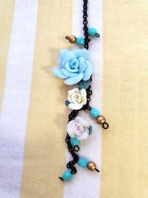 帯飾り バラ (ブルー)