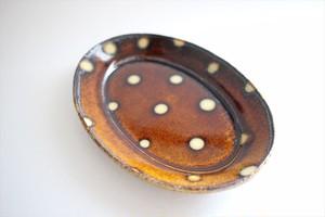 中川紀夫(紀窯)|楕円皿小 ドット