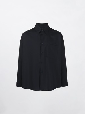 MARNI Wool Tropical Reguler Collar Shirt Blue Black CUMU0061A0