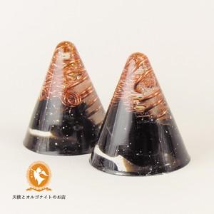 アセンションチャクラ(アーススター) ミニ円すい モリオン[黒水晶]【オルゴナイト】