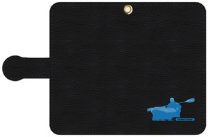 手帳型スマホケース・黒レザー調 S, Mサイズ ドリングシルエット(Leo R. Yamada)・ブルー