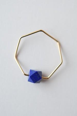 siki 七角形とラピスラズリのリング(K18YG)