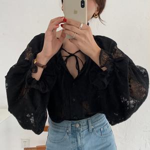 【トップス】韓国風chicレトロゆったりレース切り替えパフスリーブシャツ