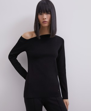 ASYMMETRIC THICK-STRETCH KNIT SWEATER [253021153111]