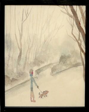 水彩画*冬の散歩道* 2017